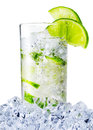 Misted glass of the water with lime and ice Royalty Free Stock Photo