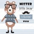 Mister little teddy bear with pullover vector illustration