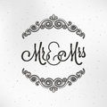 Mister and Miss Wedding Logo Design Background.