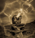 Misterious stone pagan altar shocked with the thunderbolt Royalty Free Stock Photography