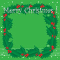 Mistletoe christmas frame abstract colorful background with and the text merry written with white letters theme Stock Image