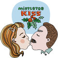 Mistletoe kiss editable vector illustration with red and green title. Green leafs and red berries. Cartoon vector template design