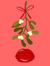 Mistletoe and Kissing Lips