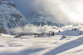 Misty Alpine Valley i vinter Royaltyfria Foton