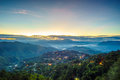 Misty blue hour of mines view park one the must go attraction in baguio city philippines the offers breath taking sunrises to Stock Image