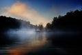 Misty bridge sunrise