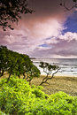 Misty Hana Beach at Sunrise Royalty Free Stock Image