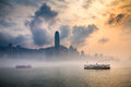 Misty harbor victoria harbor hong kong of Royalty Free Stock Image
