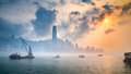 Misty harbor victoria harbor hong kong of Stock Photos