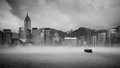 Misty harbor victoria harbor hong kong of Royalty Free Stock Photo