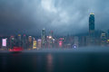 Misty harbor victoria harbor hong kong of Stock Images