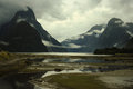 Misty mildford sound new zealand with clouds in Stock Photography
