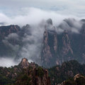 Misty morning in the huangshan mountain yellow mountain china of all notable mountains it is probably most famous Royalty Free Stock Images