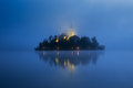 Misty morning in lake Bled Royalty Free Stock Photo