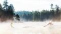 Misty Morning Lake at Sunrise Royalty Free Stock Photo