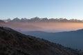 Misty mountain sunrise landscape in Himalayas. Royalty Free Stock Photo