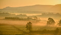Misty orange sunrise with distant flock of wild geese Royalty Free Stock Photo