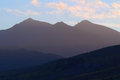 Misty peaks of snowdon at sunrise Royalty Free Stock Photos
