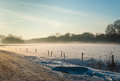 Misty rural landscape in wintertime Royalty Free Stock Photo