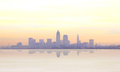 Misty sunrise in cleveland reveals a skyline Royalty Free Stock Photography