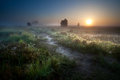 Misty sunrise over countryside path Royalty Free Stock Photo