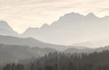 Misty sunshine in mountains sunset karwendel range bavaria germany Royalty Free Stock Photography