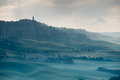 Misty tuscan hills one early morning town of pienza italy Royalty Free Stock Photography