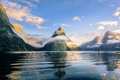 The mitre peak in milford sound Royalty Free Stock Photo