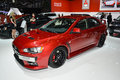 Mitsubishi lancer evo on display during the geneva motor show geneva switzerland march Stock Photo