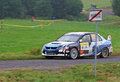 Mitsubishi lancer evo ix on barum rally leaving pohorelice Stock Photography