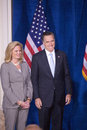 Mitt and ann romne republican presidential candidate romney stand as donald trump endorsed romney's presidential bid feb at the Royalty Free Stock Photography
