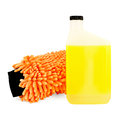 Mitten and shampoo for car Stock Photography
