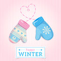 Mittens. Happy Winter Illustration. May be used for winter desig Royalty Free Stock Photos