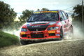Mitzubishi lancer Evo IX rally car Stock Photo