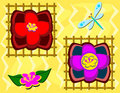 Mix of Asian Style Flowers and Dragonfly Royalty Free Stock Photo