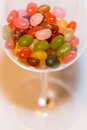 A mix of colored jelly beans candy in a stemware glass. Royalty Free Stock Photo