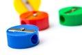 Mix colors pencil sharpener. Royalty Free Stock Photo