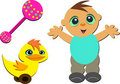 Mix of Cute Baby, Rattle, and Toy Duck Stock Image