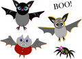 Mix of Cute Bats and Spider Royalty Free Stock Images