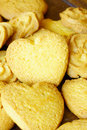 Mix of different shaped butter cookies Royalty Free Stock Photo