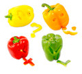 A mix of differently colored bell peppers isolated on white back Royalty Free Stock Image
