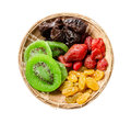 Mix dried fruit in weave wooden basket Royalty Free Stock Photo