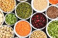 Mix of dry legume varieties: pinto and mung beans, assorted lentils, soyabean, yellow and green peas, chickpea; vegan high protein