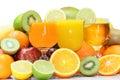 Mix of exotic fresh fruits and juice on white background Stock Photo