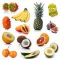 Mix of exotic fruits on white background Royalty Free Stock Photos