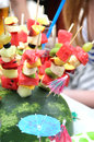 Mix of fresh fruits on the sticks Royalty Free Stock Photo