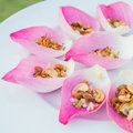 Mix fried rice contained in lotus flower leaf Royalty Free Stock Image