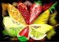 Mix fruit abstract cut on a dark background Stock Photography