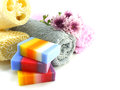 Mix fruit soap with towel and luffa for cleaning Royalty Free Stock Photo