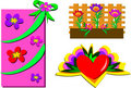 Mix of Gift, Heart, and Flower Box Stock Images